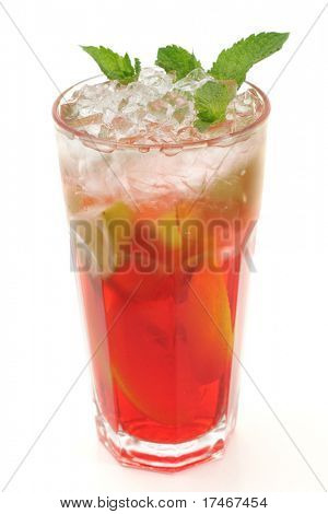 Refreshment Soft Drink made of Black Tea, Orange, Grenadine Syrup, Lime and Mint. Isolated on White Background.