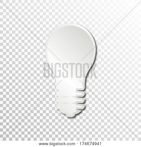 Empty white paper plate base for text. Simple bulb form card on transparent background.