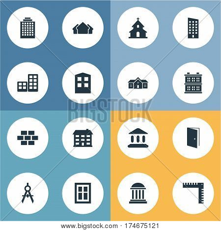 Set Of 16 Simple Construction Icons. Can Be Found Such Elements As Stone, Gate, Block And Other.