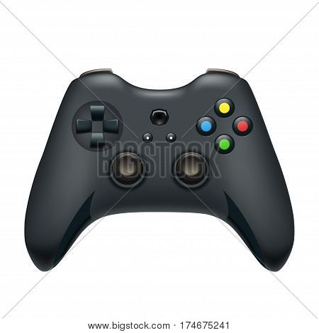 illustration of realistic gamepad black color isolated on white background
