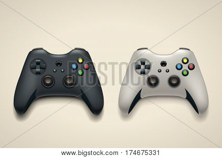 illustration of black and white color gamepad with shadows on bright background