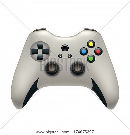 illustration of realistic gamepad white color isolated on white background