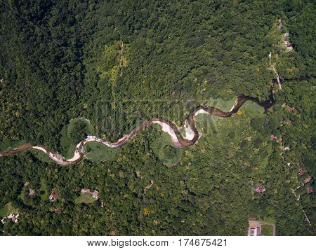 Top View of River in Rainforest, Latin America