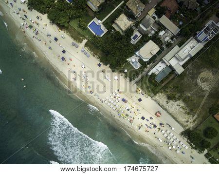 Top View of Maresias Beach, Sao Paulo, Brazil