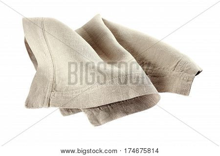 Crumpled linen napkin isolated on white background