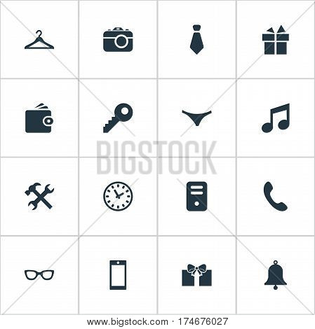 Set Of 16 Simple  Icons. Can Be Found Such Elements As Call Button, Cravat, Present And Other.