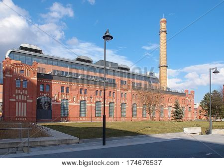 Power station. Lodz, Poland - March 05, 2017 Revitalized, the first in Lodz (1906) power plant, transformed into a center of scientific - cultural.