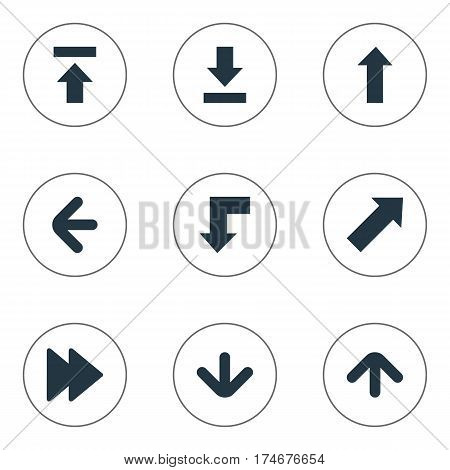 Set Of 9 Simple Pointer Icons. Can Be Found Such Elements As Left Direction, Advanced, Let Down And Other.
