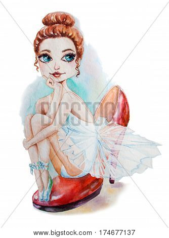 Young Ballerina sitting on the women's shoe. Romantic hand drawing poster. Cartoon character.