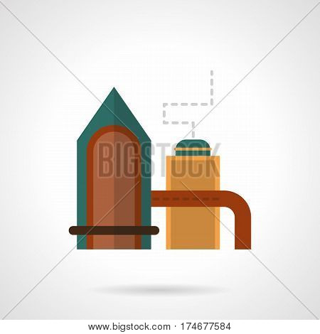 Abstract symbol of distilling plant complex with tower, pipeline, tank. Industrial buildings and facilities. Flat color style vector icon.