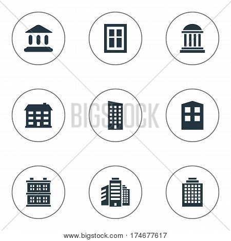 Set Of 9 Simple Structure Icons. Can Be Found Such Elements As Glazing, Booth, Offices And Other.