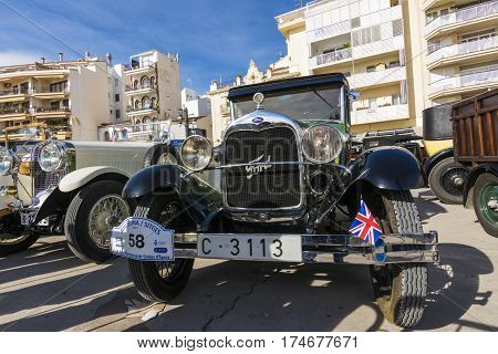 Sitges, Spain - March 5 2017: 59th International Barcelona-Sitges Vintage Car Rally. This rallye is held, every year since1959. Only cars that were produced between 1900 and 1924 can participate in the event. This is a competitive rally that does not meas