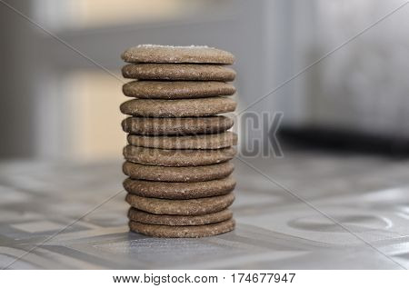 Homemade sweet cookies stacked in a row
