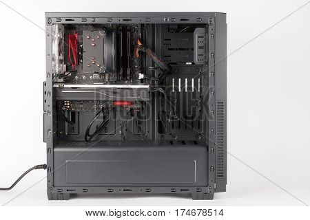 Open Midi Tower Computer Case On White Background