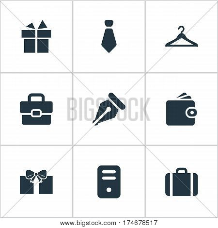 Set Of 9 Simple Instrument Icons. Can Be Found Such Elements As Hanger, Ink Pencil, Business Bag And Other.