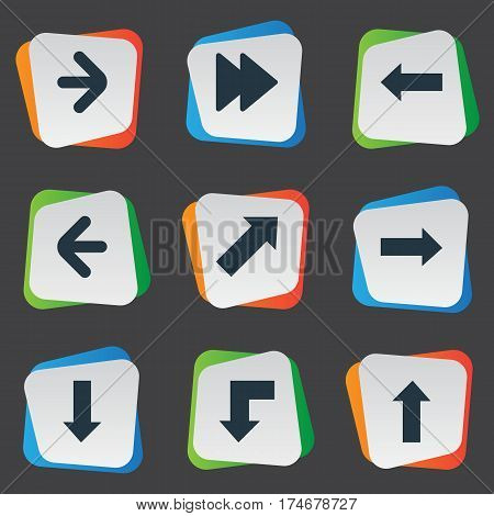 Set Of 9 Simple Arrows Icons. Can Be Found Such Elements As Right Direction, Left Direction, Right Direction And Other.