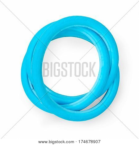 Blue airless solid bicycle tires. Isolated on white clipping path included