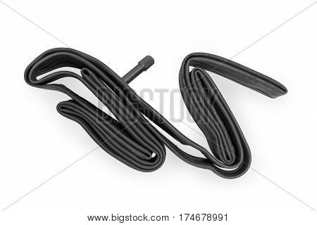 Inner tube for bicycle tire. Isolated on white clipping path included