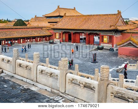 Beijing, China - Oct 30, 2016: Side gate house near the Gate of Heavenly Purity, or Celestial Purity (Qianqingmen). Forbidden City (Gu Gong, Palace Museum).