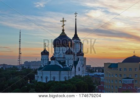 Evening Voronezh in summer, Annunciation Cathedral at sunset background