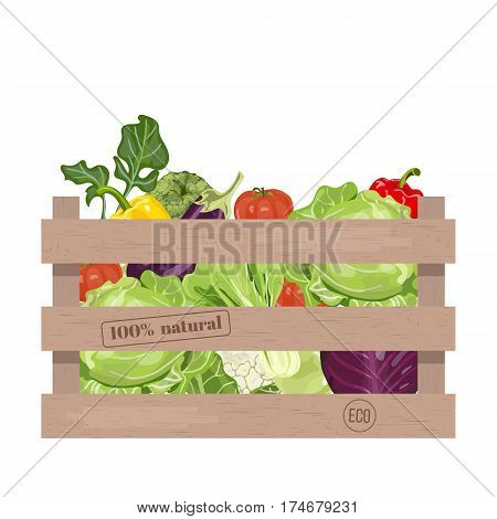 Wooden crate of farm fresh vegetables with cauliflower tomatoes broccoli cabbage eggplant and colorful sweet bell peppers in a wooden box