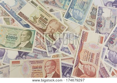 old turkish money banknote photography on isolated white background