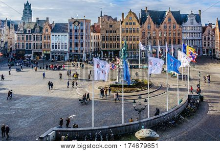 GHENT, BELGIUM - JANUARY 29, 2017: Panoramic view of Market Square in the UNESCO World Heritage Old Town of Bruges Belgium