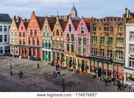 GHENT, BELGIUM - JANUARY 29, 2017: Colorful old brick buildings in the UNESCO World Heritage Old Town of Bruges Belgium