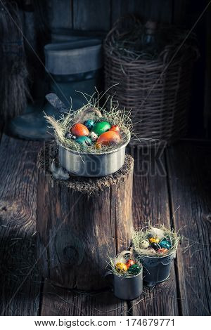 Quail And Hen Eggs For Easter With Hay