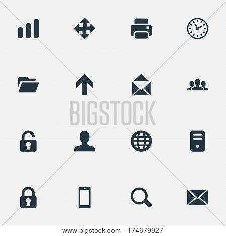 Set Of 16 Simple Practice Icons. Can Be Found Such Elements As Lock, Magnifier, Dossier And Other.