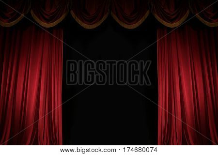 ajar red curtain on stage of the theater