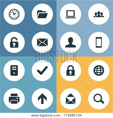 Set Of 16 Simple Practice Icons. Can Be Found Such Elements As Dossier, Printout, Web And Other.
