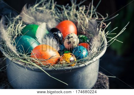 Quail And Hen Eggs For Easter In The Old Bowl