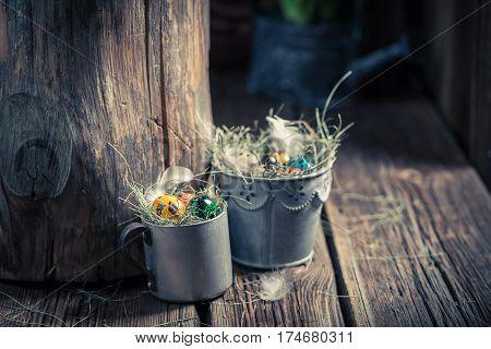 Farm Easter Eggs In Wooden Small Henhouse