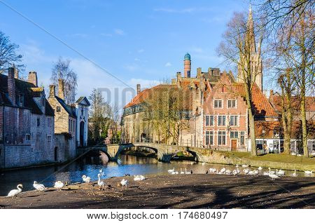 The Beguinage in the UNESCO World Heritage Old Town of Bruges Belgium
