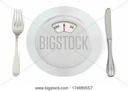 Diet meal concept. Plate with weight scale 3D rendering isolated on white background