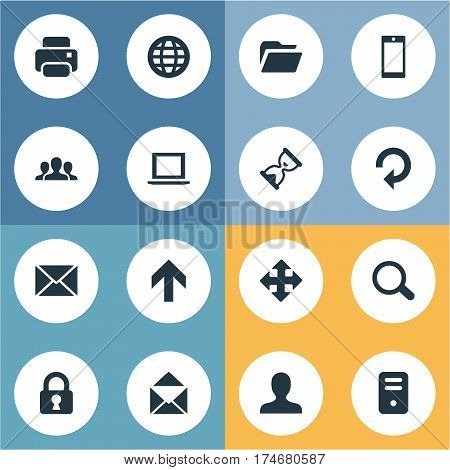 Set Of 16 Simple Application Icons. Can Be Found Such Elements As Dossier, Computer Case, Magnifier And Other.