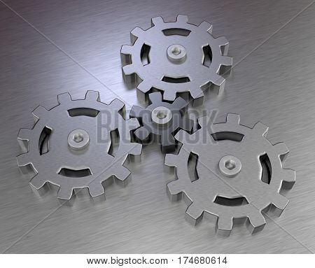 mechanical gears planetary transmission stainless steel metal icons 3D illustration