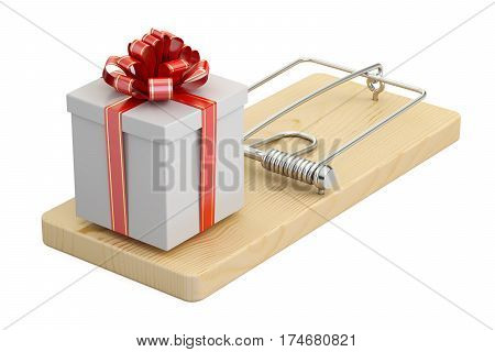 mousetrap with gift box 3D rendering isolated on white background