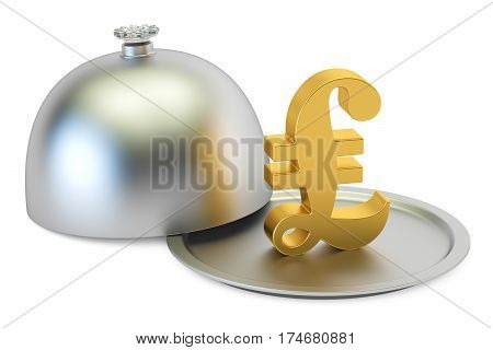 Restaurant cloche with gold pound sterling symbol 3D rendering