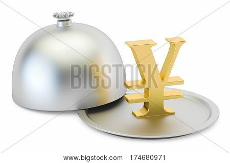 Restaurant cloche with gold yen or yuan symbol 3D rendering