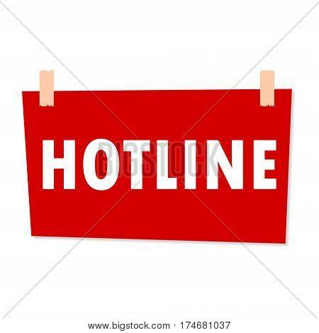 Red Hotline Sign - illustration on white background