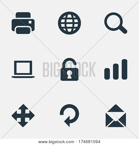 Set Of 9 Simple Apps Icons. Can Be Found Such Elements As Magnifier, Statistics, Open Padlock And Other.