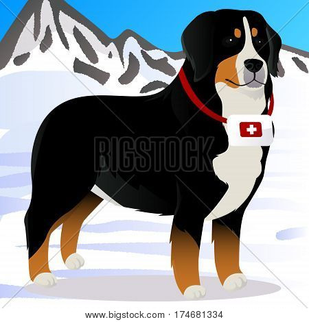 Bernes Mountain dog lifesaver in mountains vector illustration