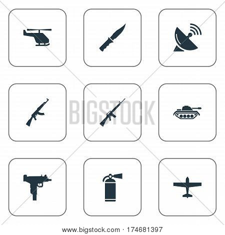 Set Of 9 Simple Army Icons. Can Be Found Such Elements As Cold Weapon, Signal Receiver, Firearm And Other.