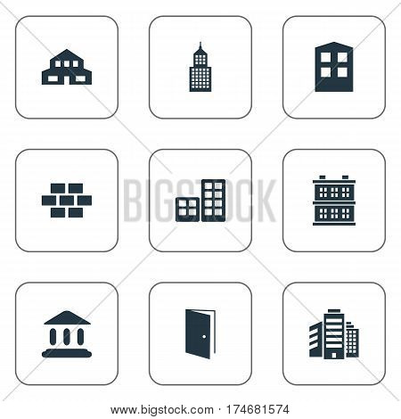 Set Of 9 Simple Architecture Icons. Can Be Found Such Elements As Residential, Construction, Block And Other.