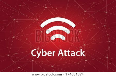 cyber attacks white text illustration with constellation map on red background and signal bar icon vector