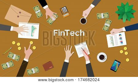 fintech financial technology concept discussion illustration with meeting situation with paperworks, money, coins and calculator on top of table vector