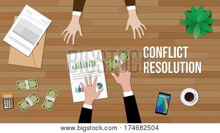 conflict resolution concept illustration with two people discuss and money, paperworks, folder document and vase on top of table vector
