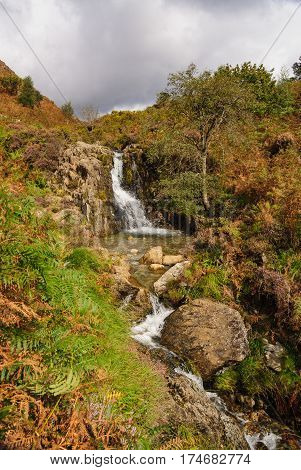 A small mountain stream and waterfall in Cwm Bychan near Beddgelert in the Snowdonia National Park in North Wales.